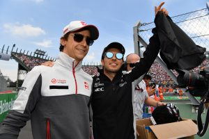 Esteban Gutierrez (MEX) Haas F1 and Sergio Perez (MEX) Force India on the drivers parade at Formula One World Championship, Rd19, Mexican Grand Prix, Race, Circuit Hermanos Rodriguez, Mexico City, Mexico, Sunday 30 October 2016.
